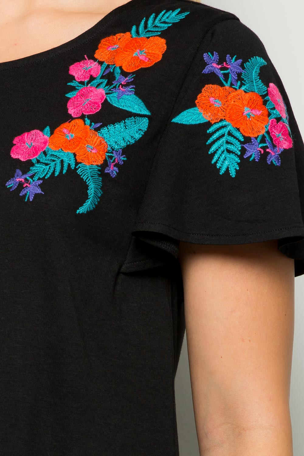 T2517 Floral Embroidery Jersey Top - Black