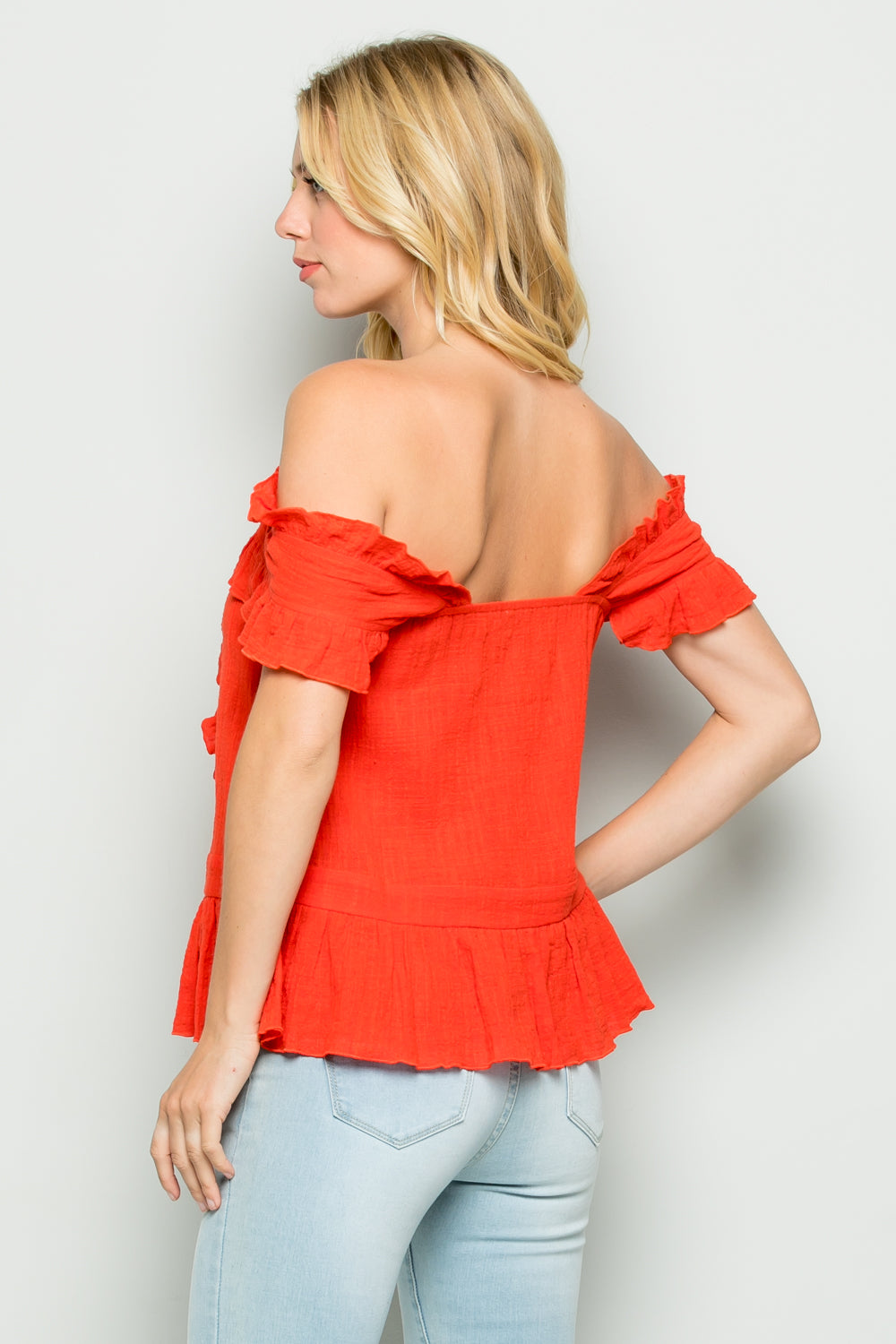 T2574 Ruffle Detail Top