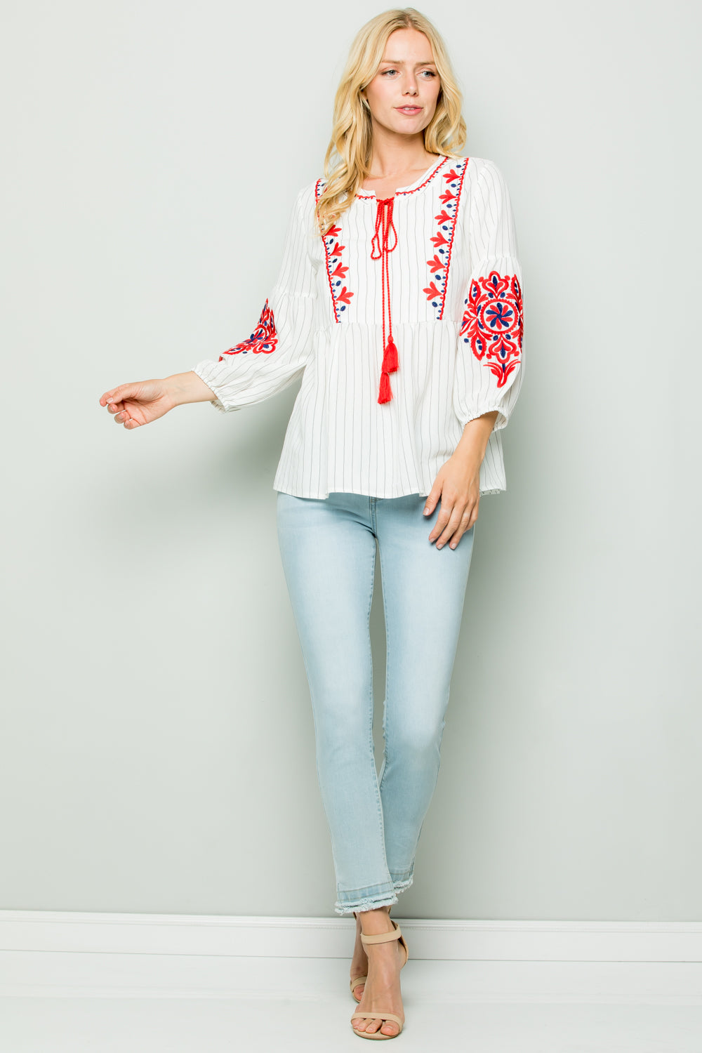 T2577 Embroidery Stripe Top
