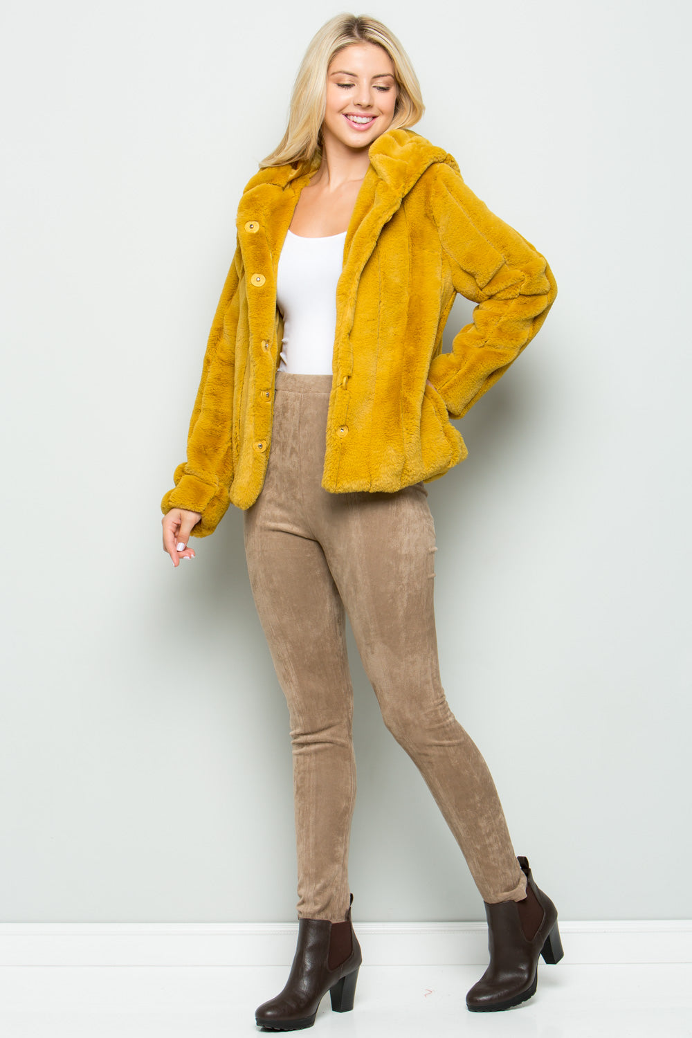 T2585 Hooded Soft fur Jacket - Mustard