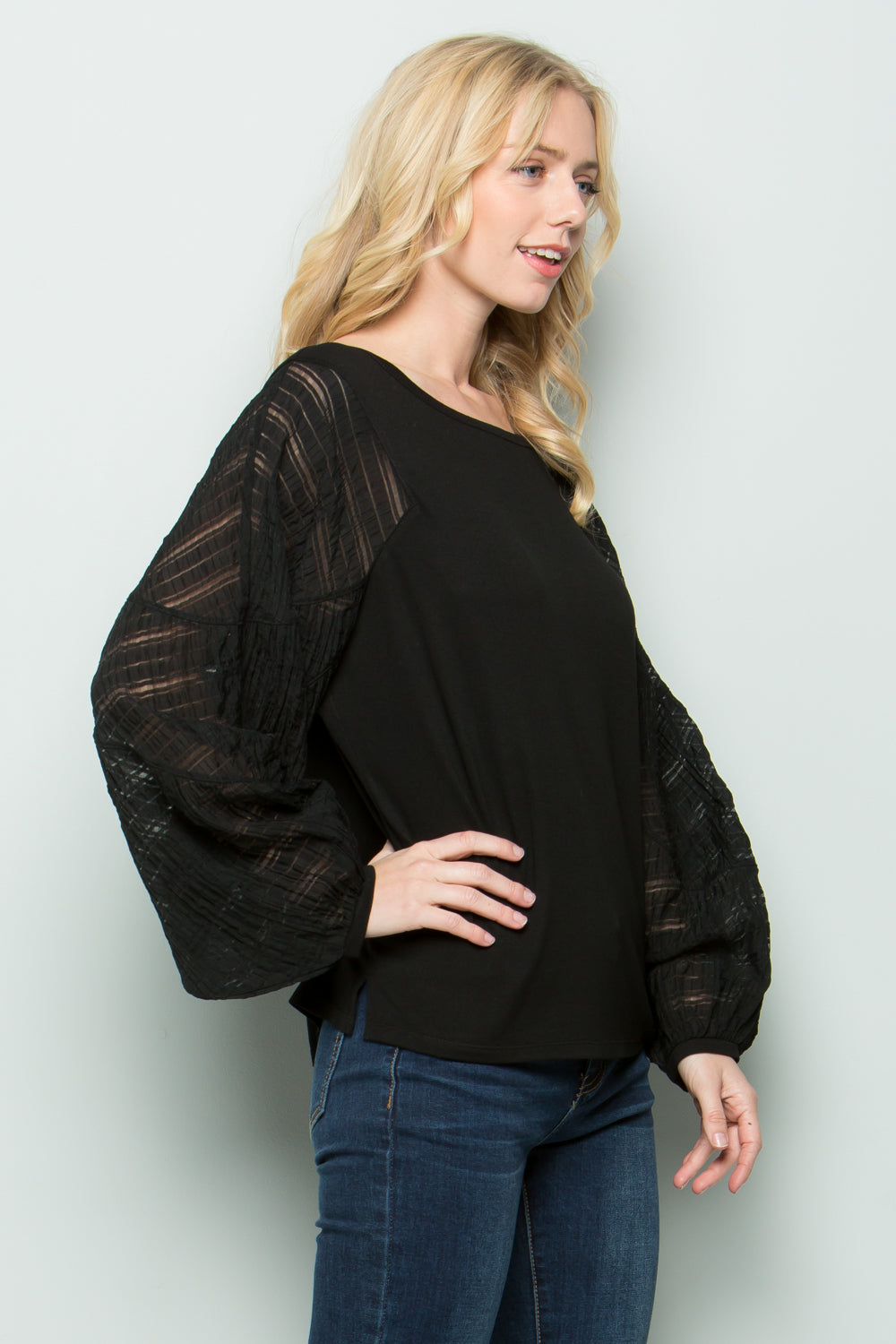 T2612 Contrast Sleeve Top