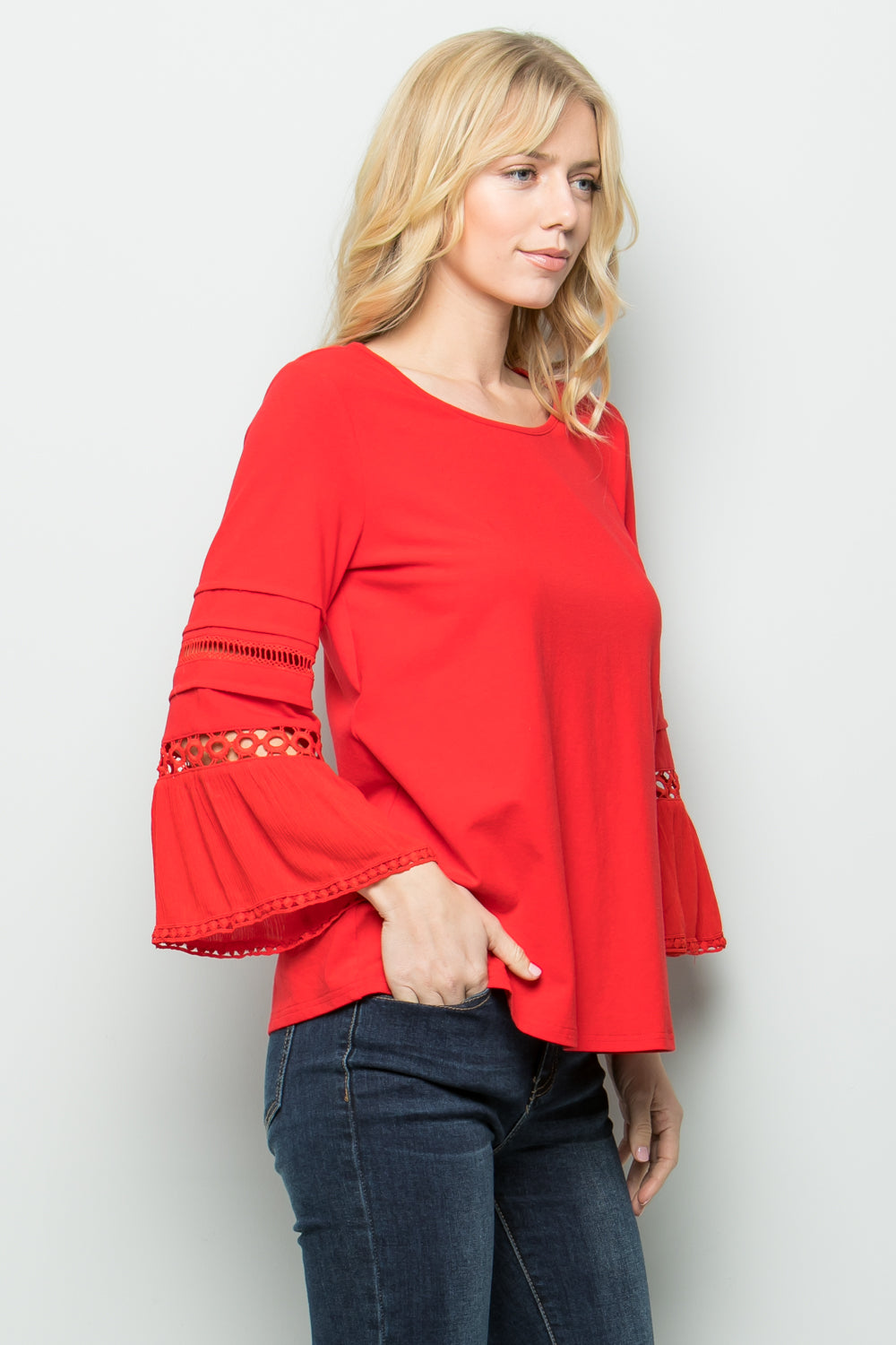 T2622  Lace Sleeve Knit Top - Red