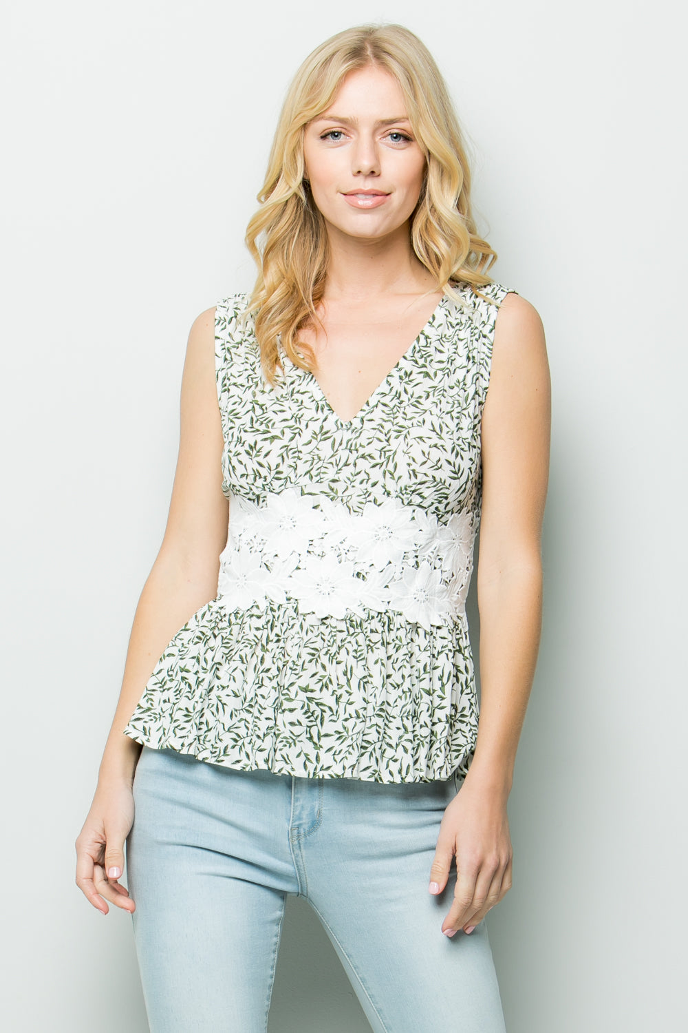 T2646 Floral Sleeveless Top - Green