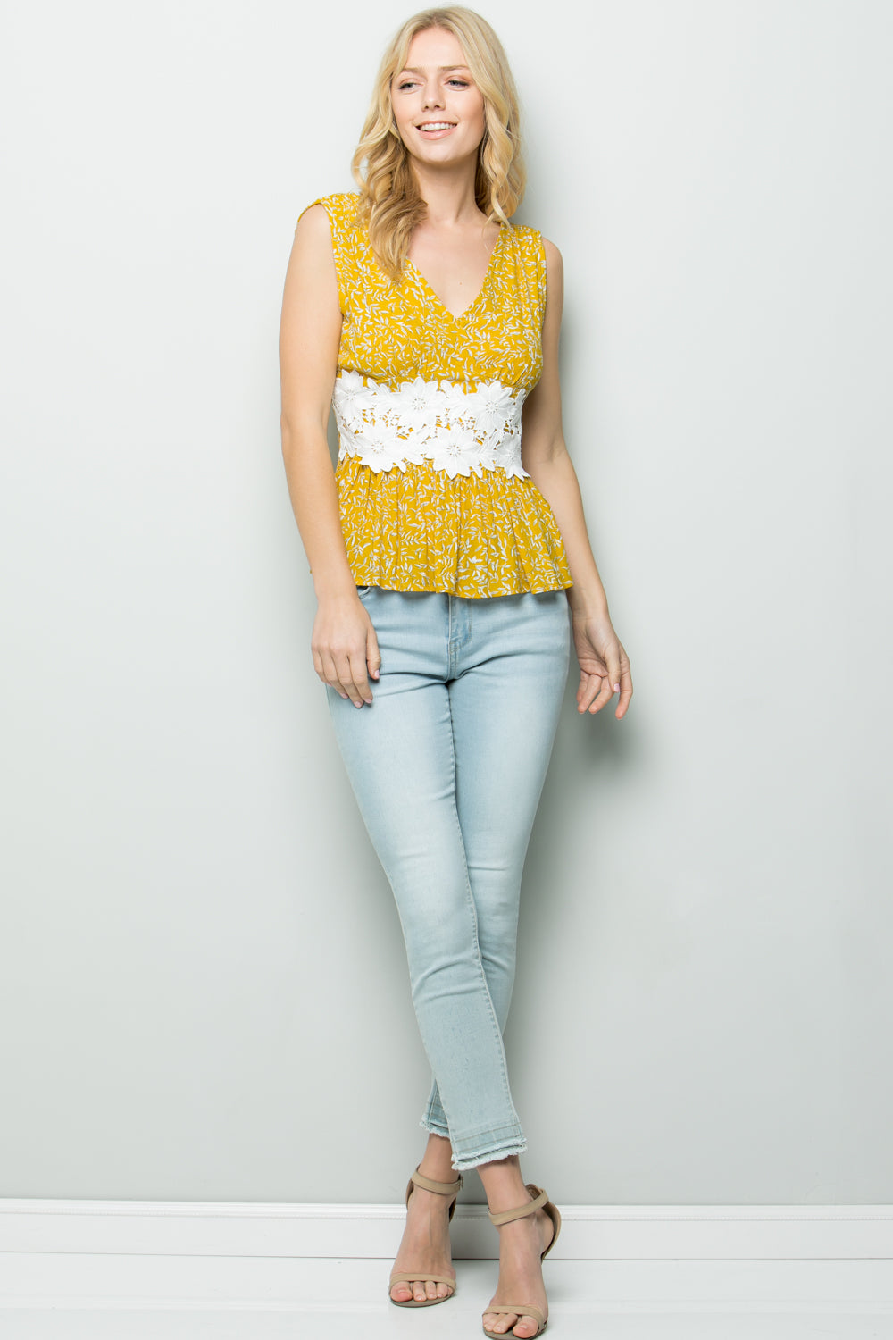 T2646 Floral Sleeveless Top - Yellow
