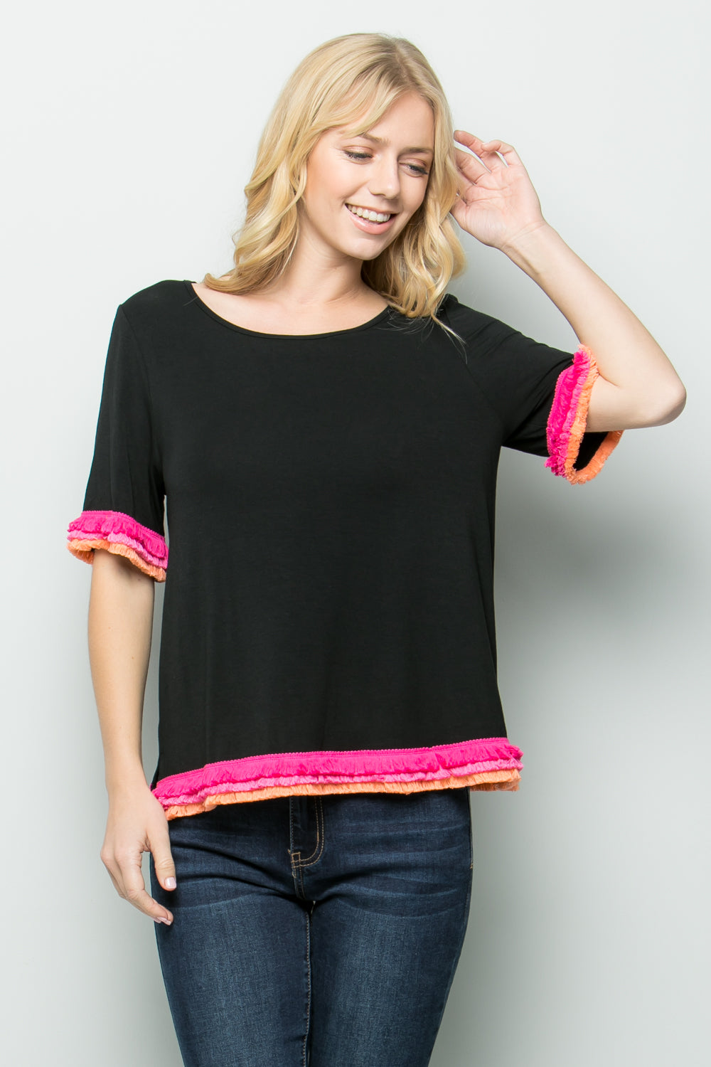 T2667 Sleeve trim detail knit Top