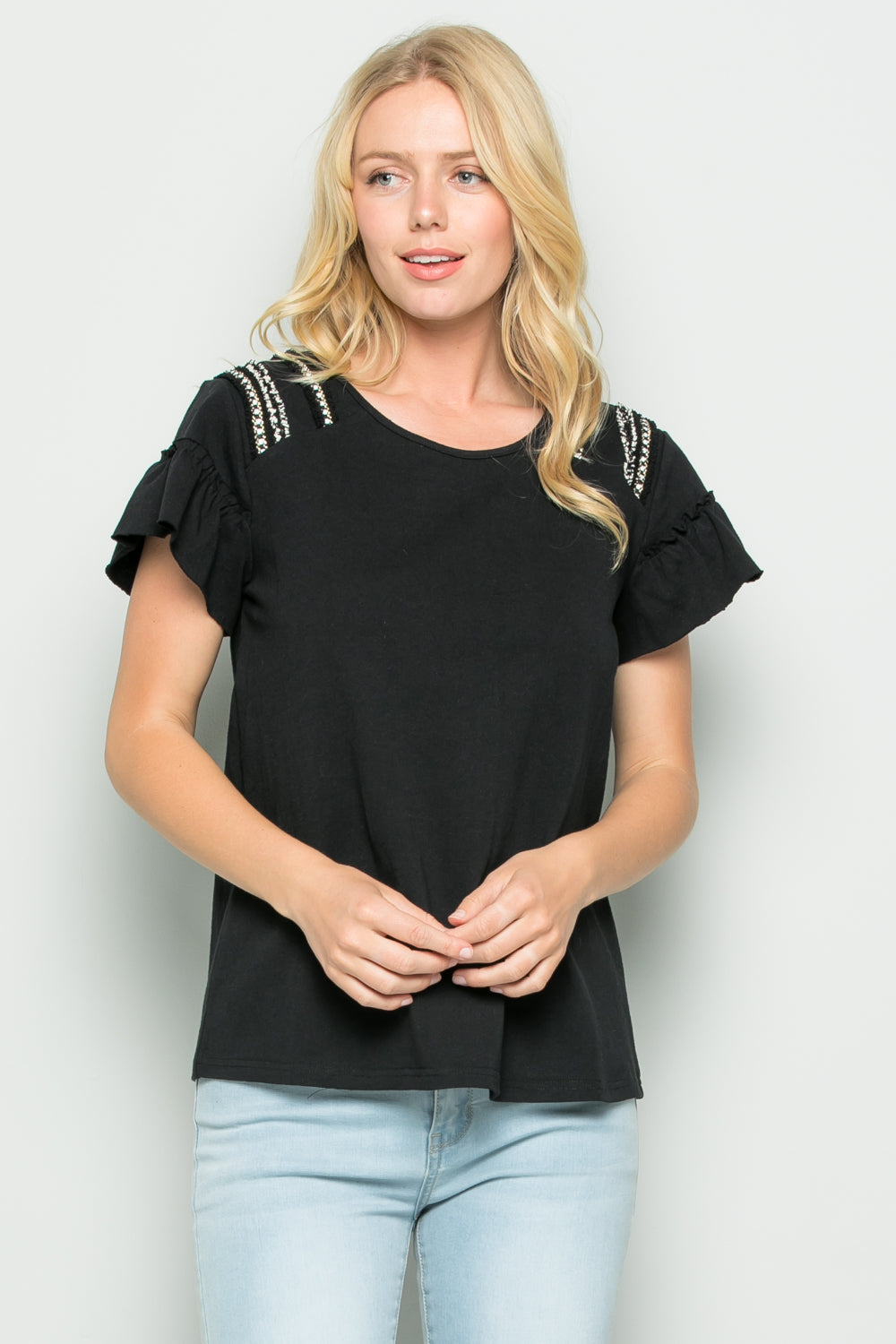T2682 Trimed detail Knit Jersey Top - Black