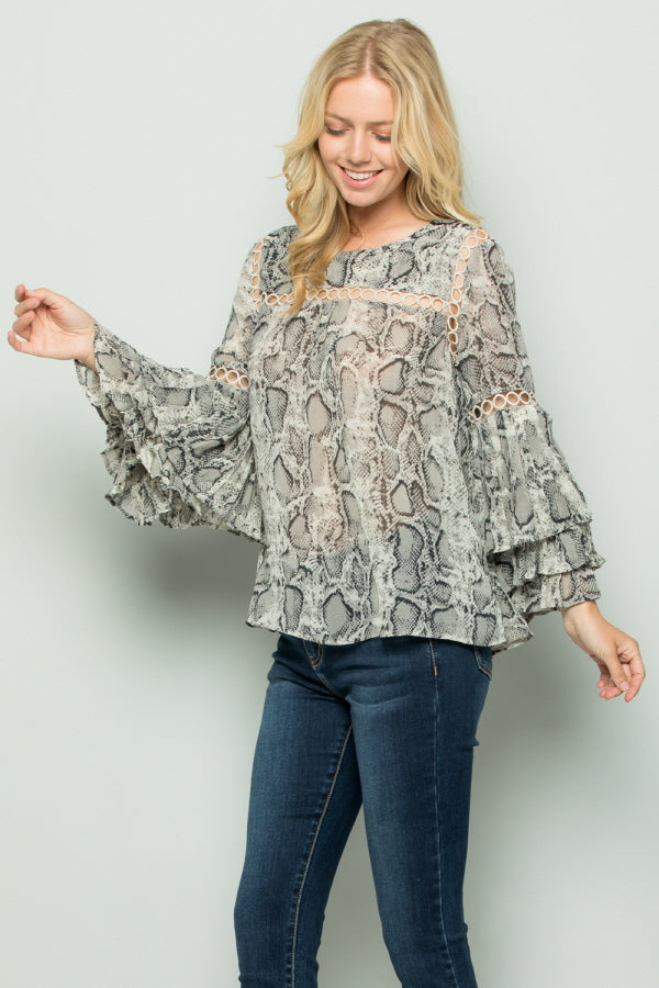 T2696 Snake Skin Prints Pleats Sleeve Top - Grey