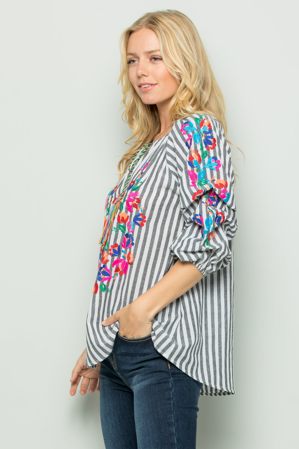 T2697 Floral Embroidery Stripe Top