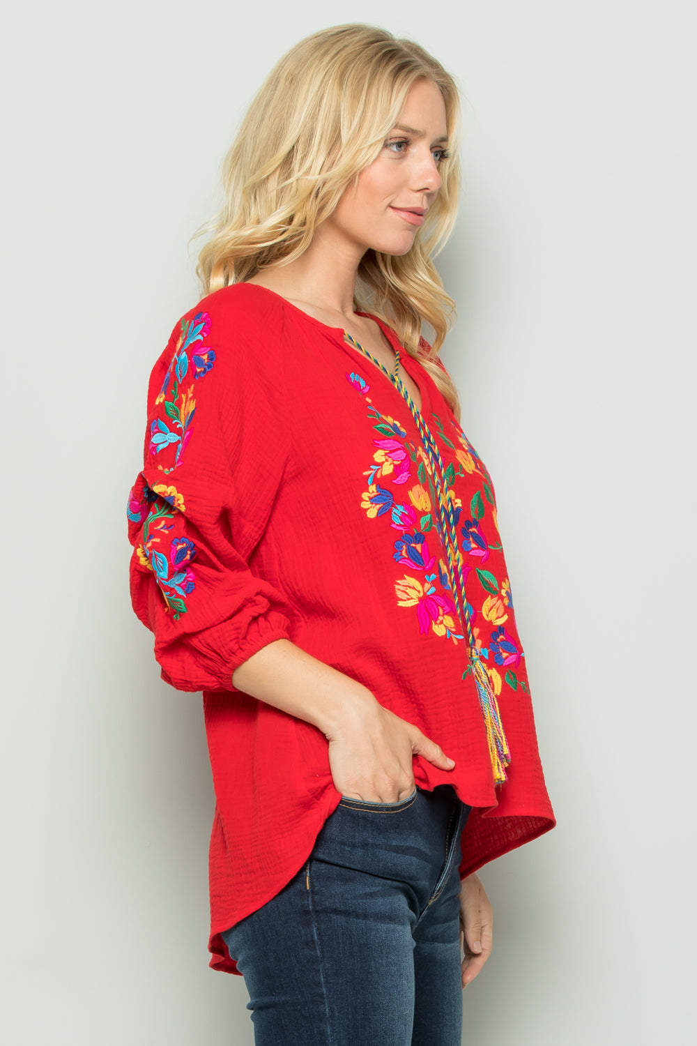 T2698 Floral Embroidery Top - White