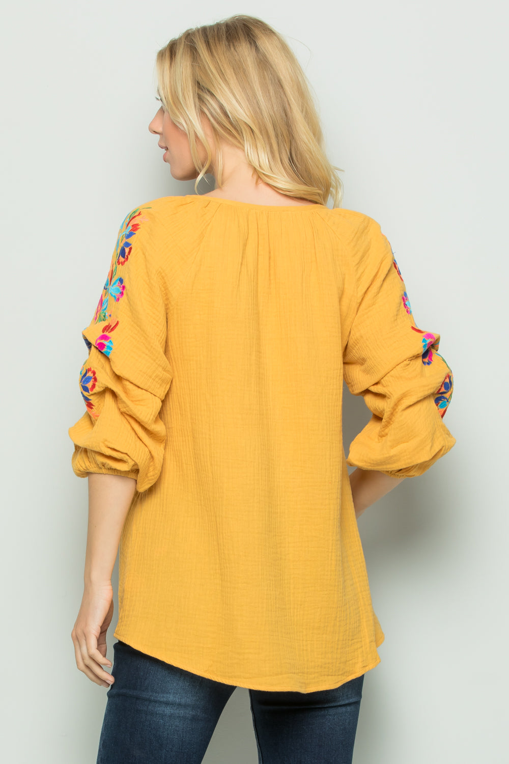 T2698 Floral Embroidery Top - YELLOW