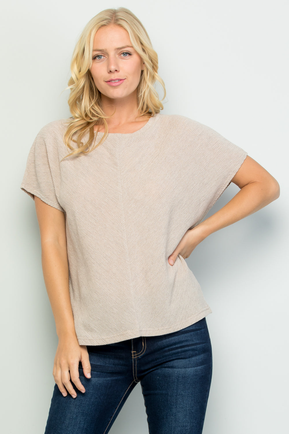 T2705 Pleated Detail Loose Knit Jersey Top