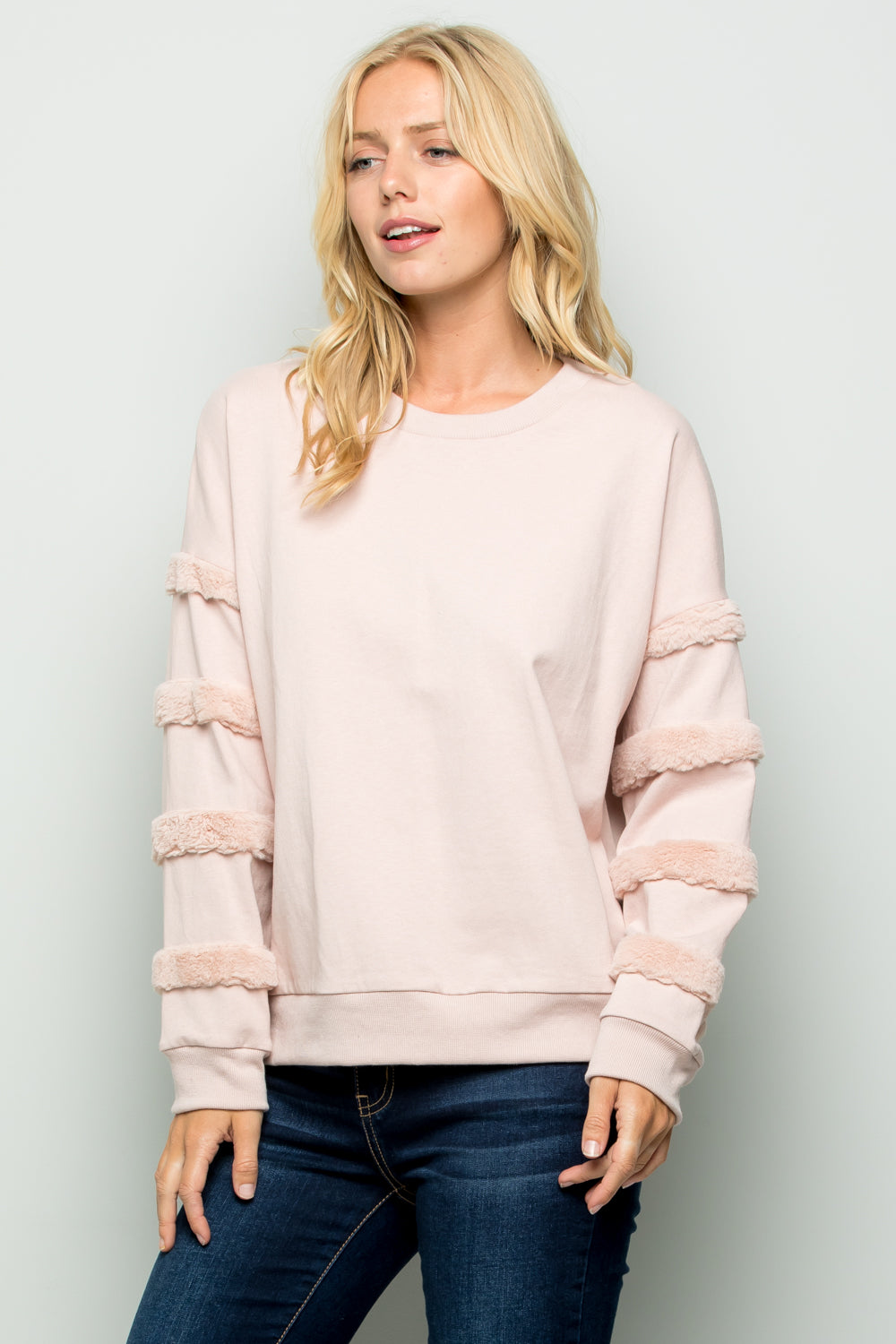 T2712 Faux Fur Trim Pullover Top - Blush