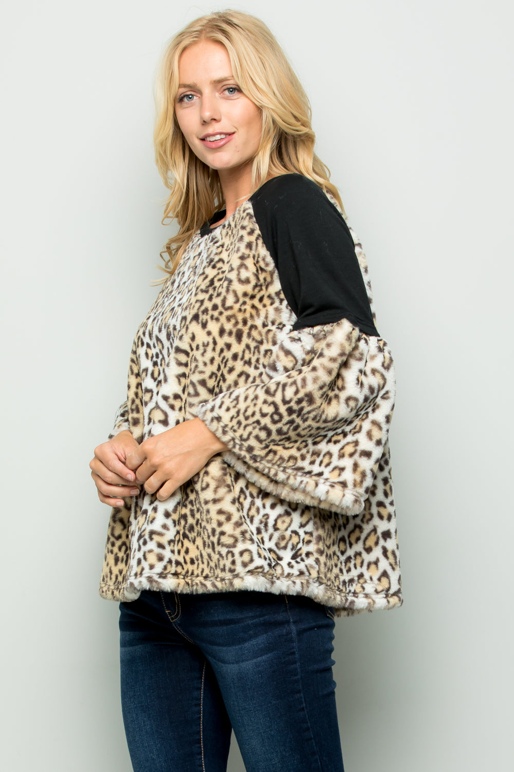 T2714 Animal Printed Faux Fur Terry Top - GREY