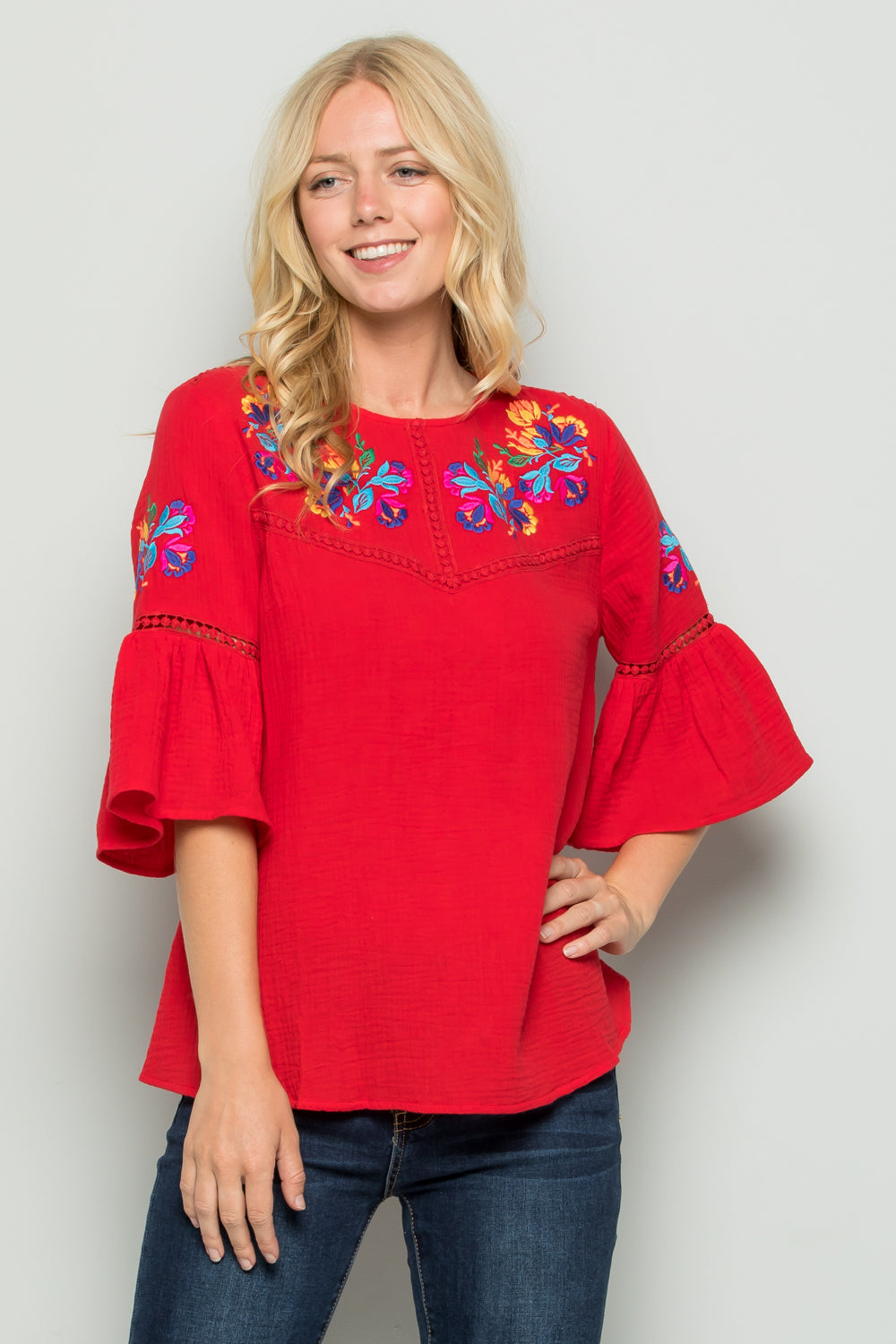 T2727 Floral Embroidered Top - YELLOW