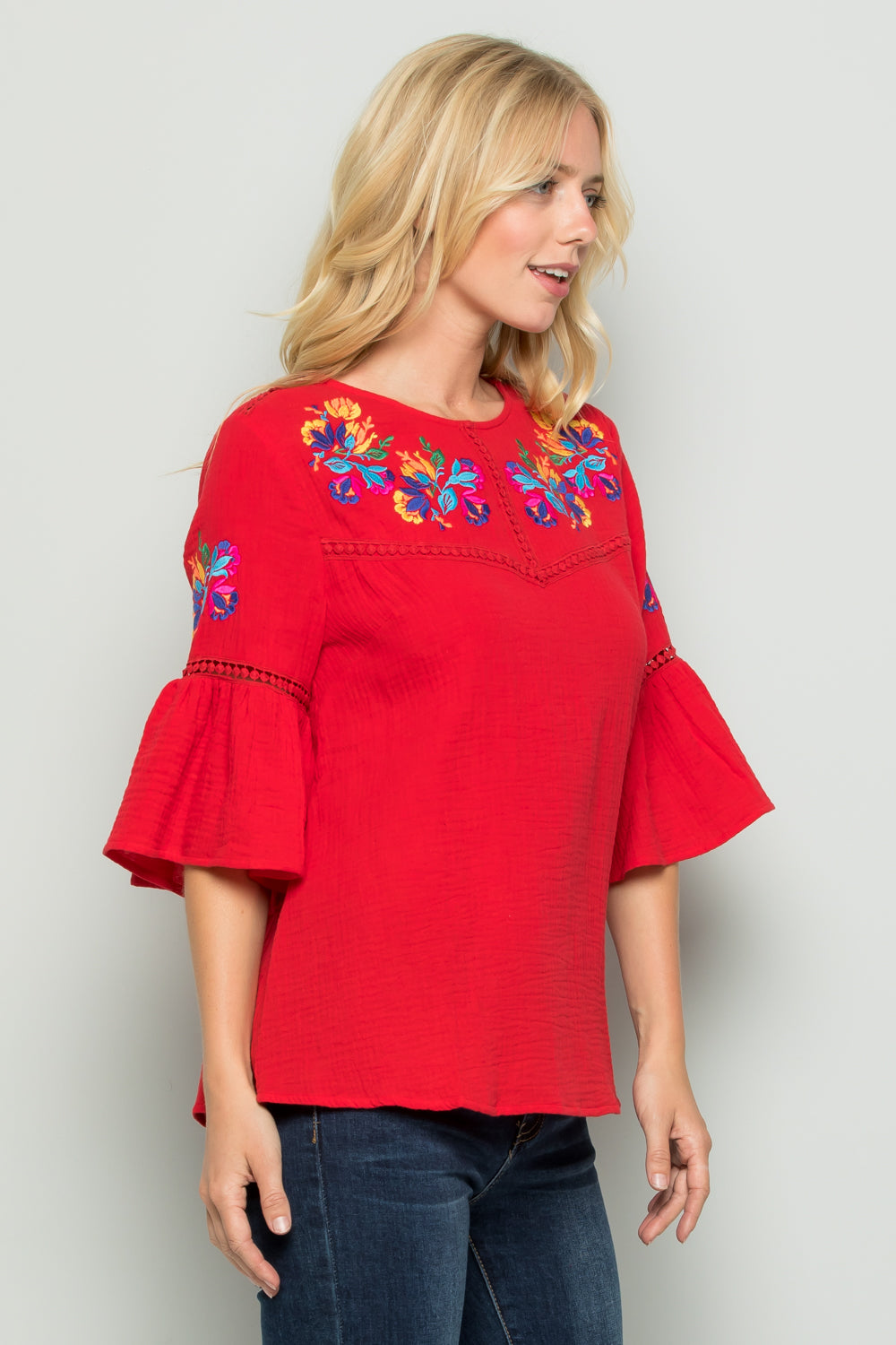 T2727 Floral Embroidered Top - RED