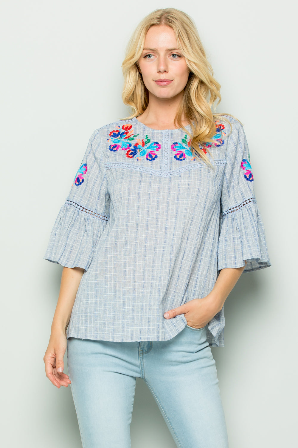 T2728 Embroidery Trimed Top - Taupe