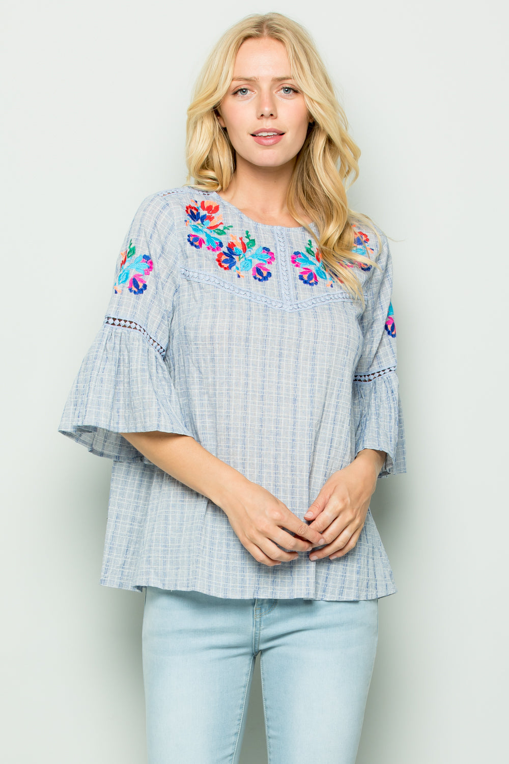 T2728 Embroidery Trimed Top - Blue