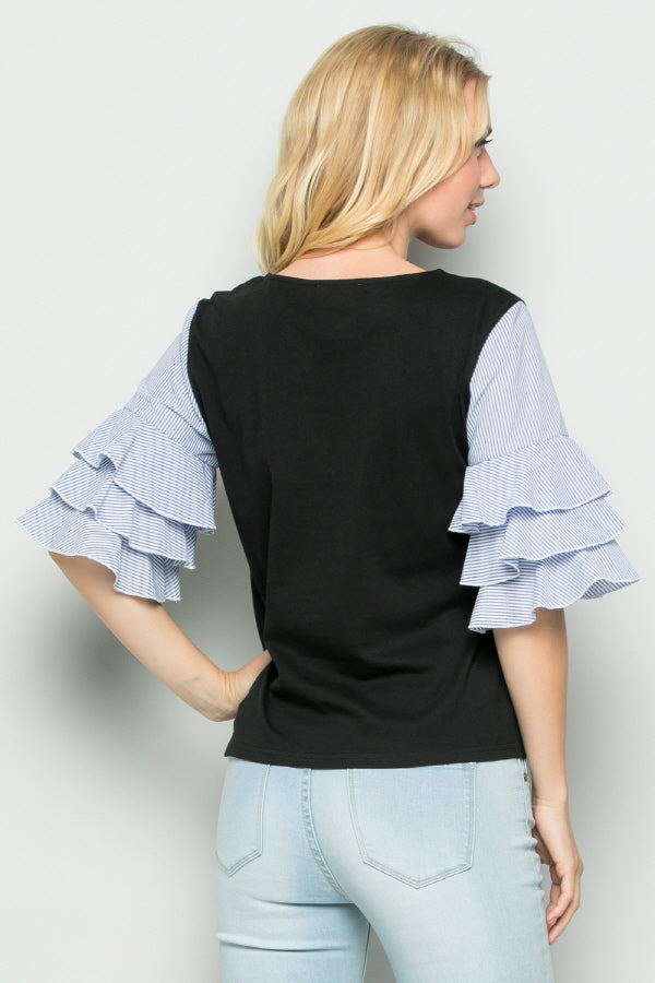 T2730  Layered Ruffle Sleeve Knit Top
