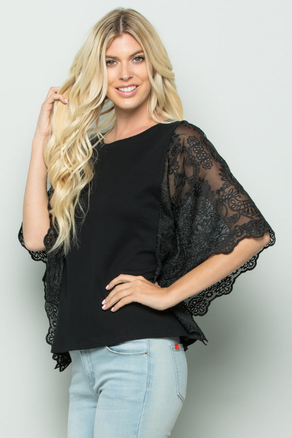 T2740 Lace Sleeve Knit Top - BLACK