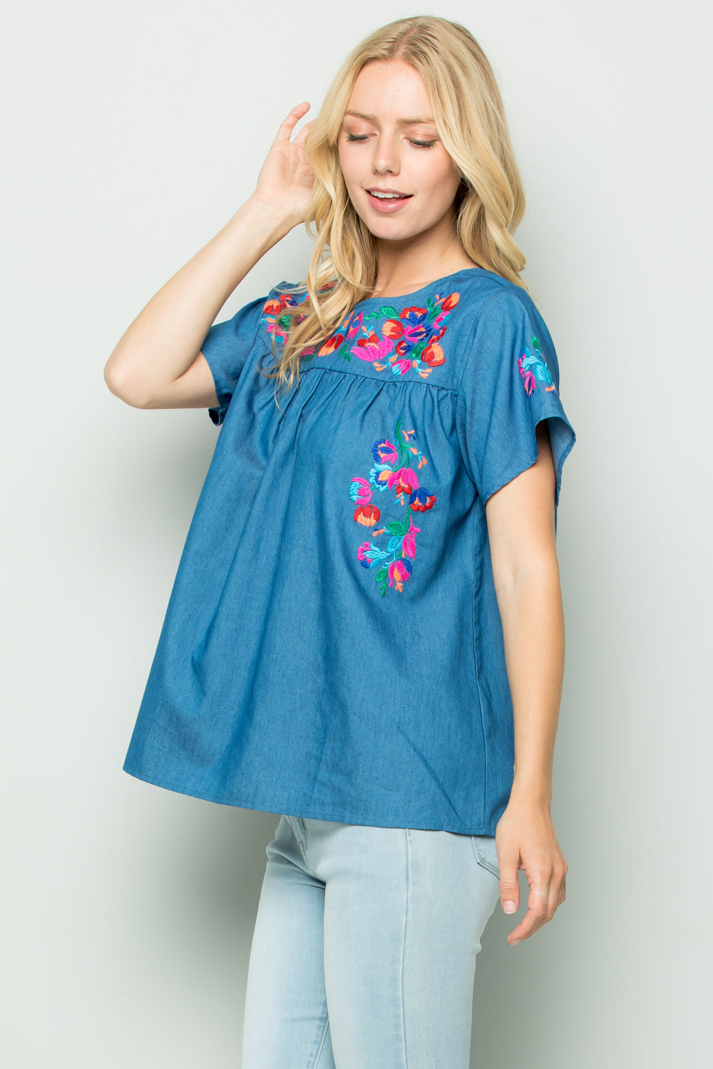T2745 Floral Embroidery Chambray Top