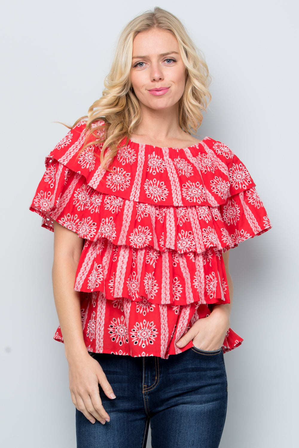 T2786 Embroidery Tier Top