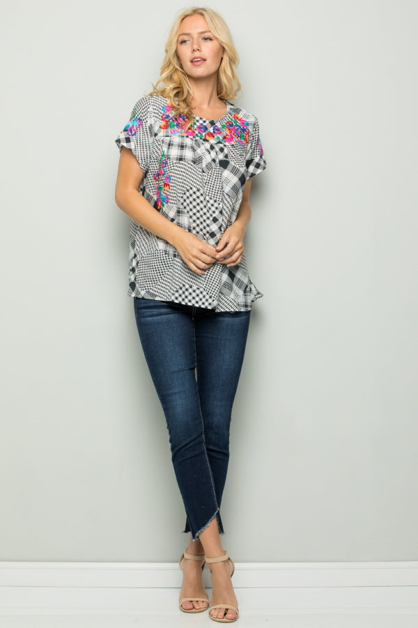 T2802 Floral Embroidery Plaid Top - Black