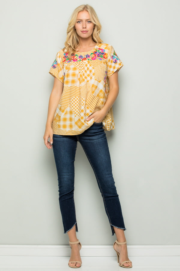 T2802 Floral Embroidery Plaid Top - Blue