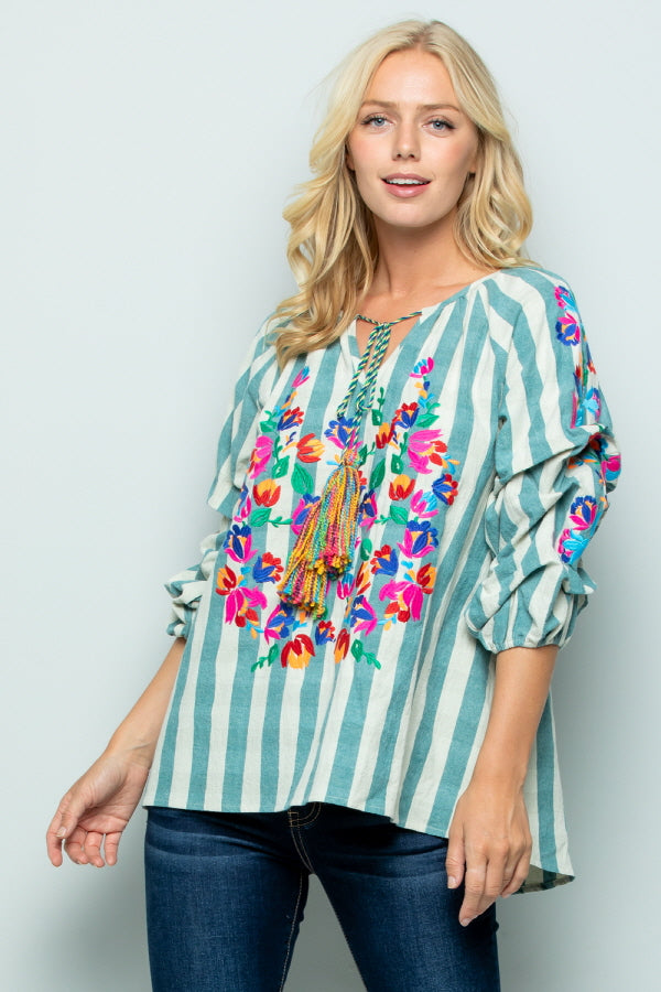 T2803 Floral Embroidery Stripe Top - MINT
