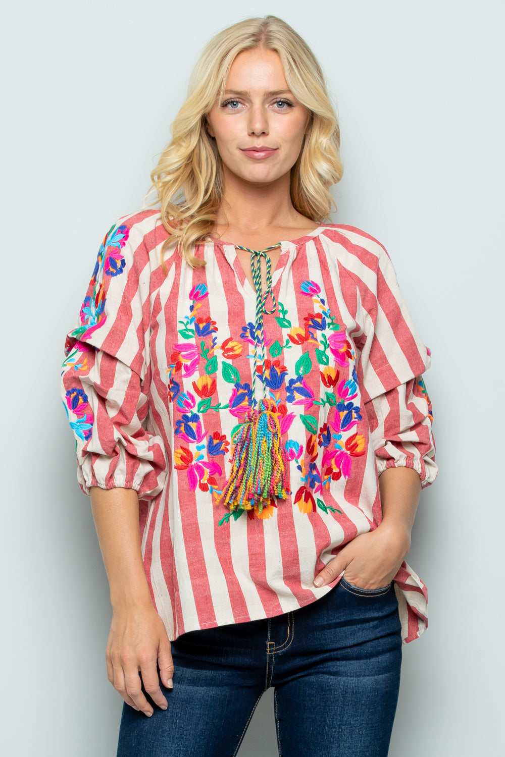 T2803 Floral Embroidery Stripe Top - LAVENDER
