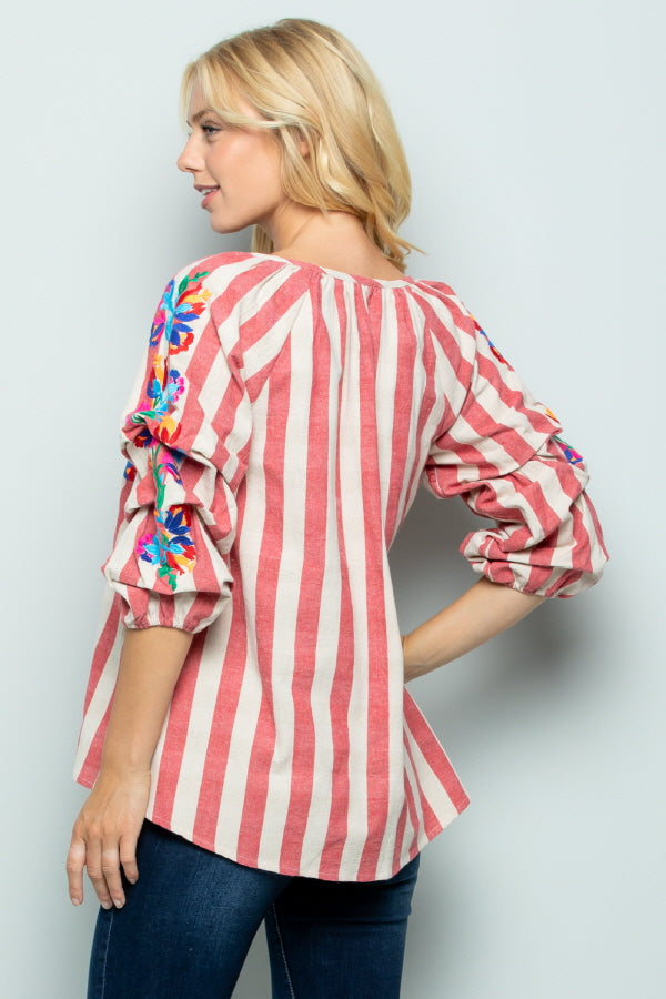 T2803 Floral Embroidery Stripe Top - RED