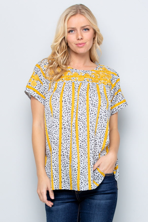 T2819 Floral Emboridery Top - GREY/YELLOW