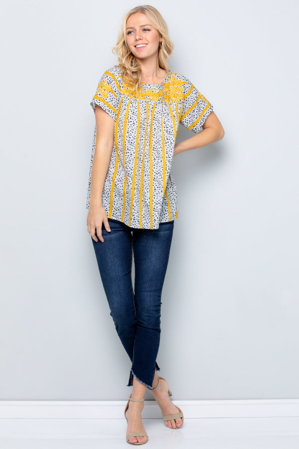T2819 Floral Emboridery Top - TAUPE/BLUE