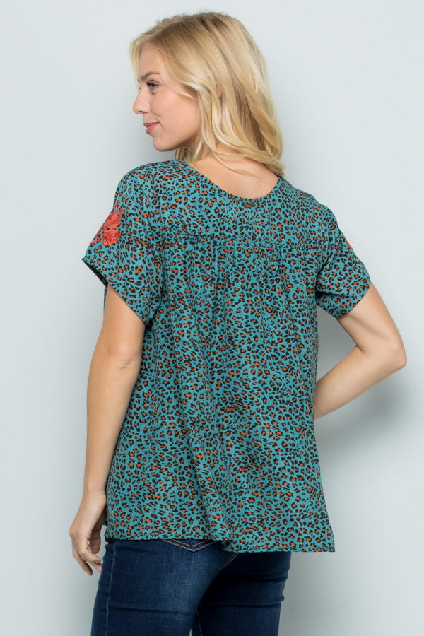T2838 Floral Embroidery Animal Print - TEAL