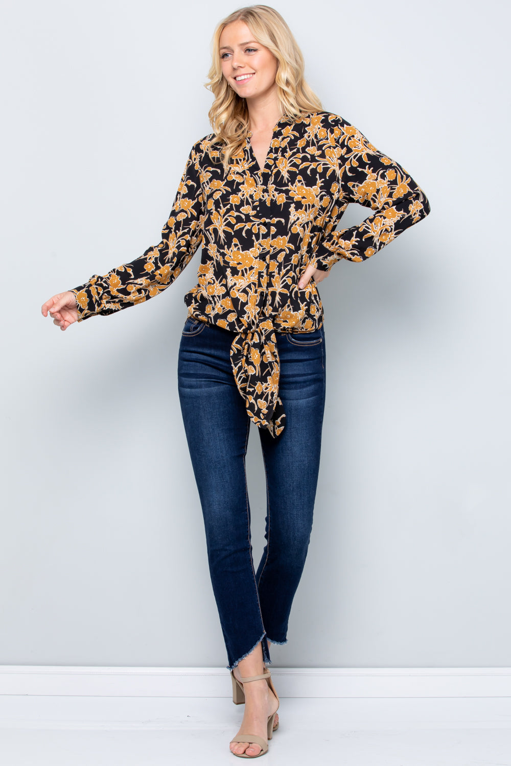 T2840  Floral Print Shirts Top
