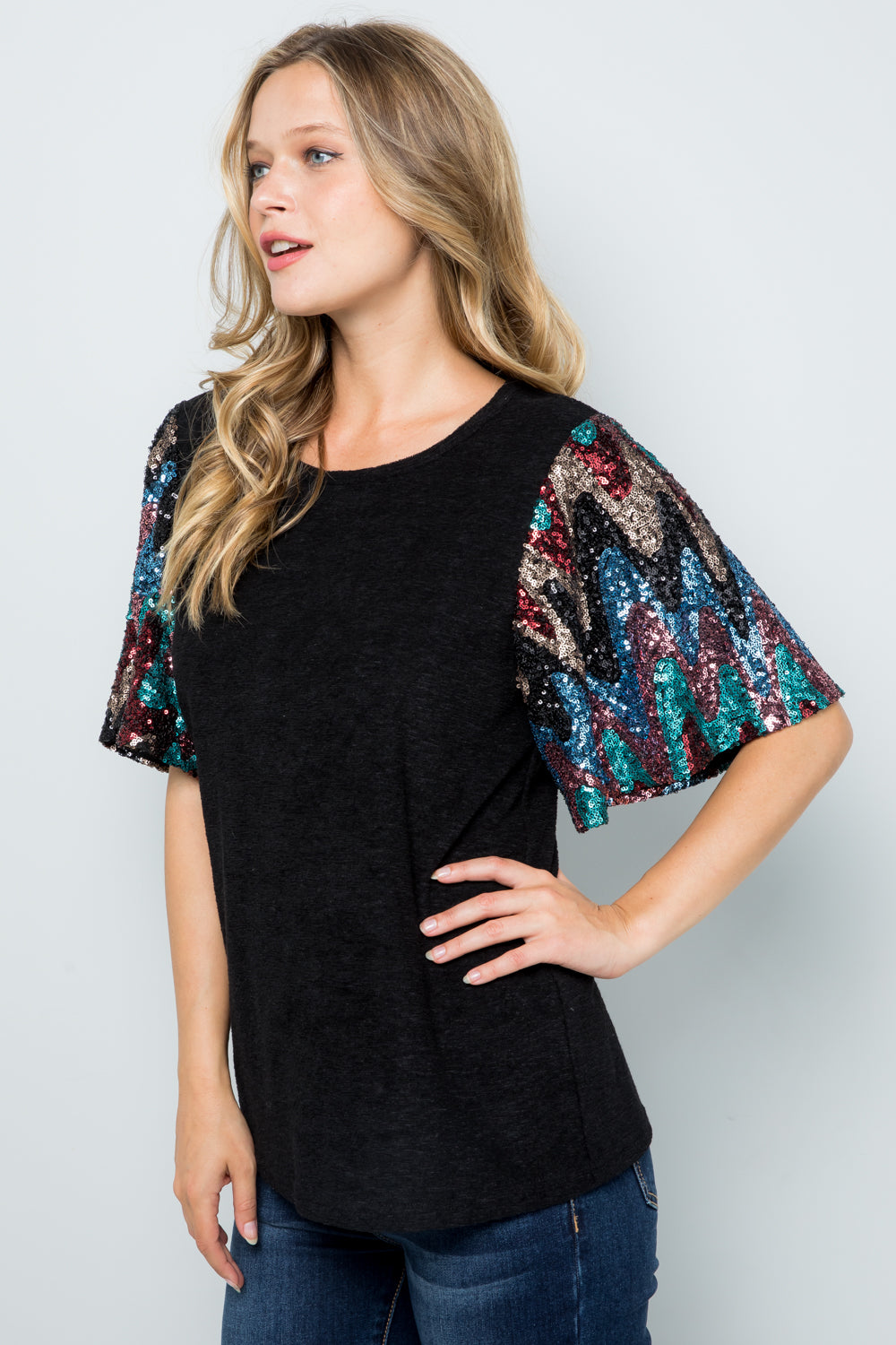 T2858 Sequins Sleeve Knit Top - Black