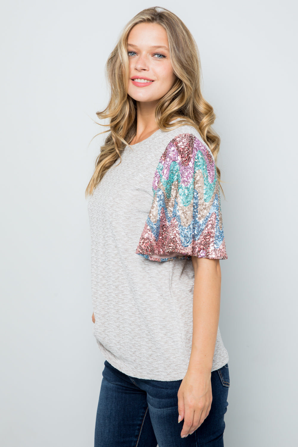 T2858 Sequins Sleeve Knit Top - TAUPE
