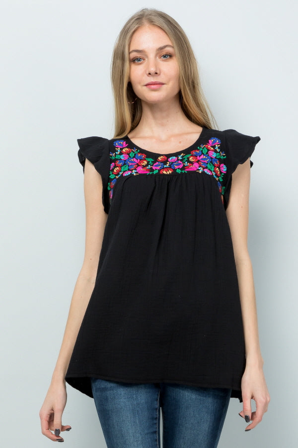 T2861 Floral Embroidery - Black