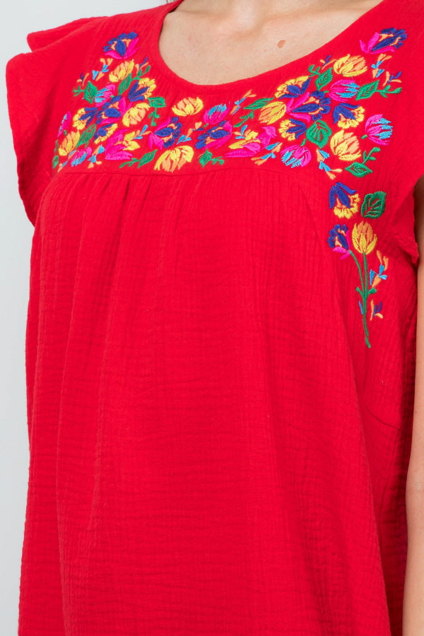 T2861 Floral Embroidery - Red