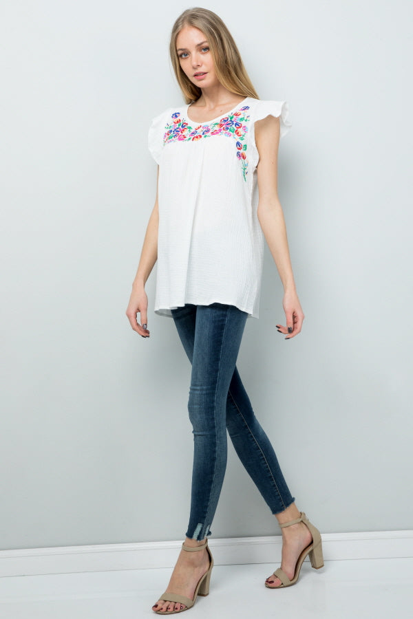 T2861 Floral Embroidery - White