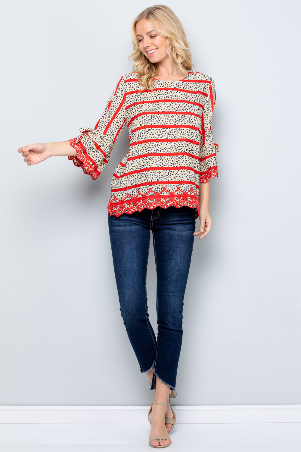 T2837 Scallop Embroidery Bell Sleeve Top - Cream/Red