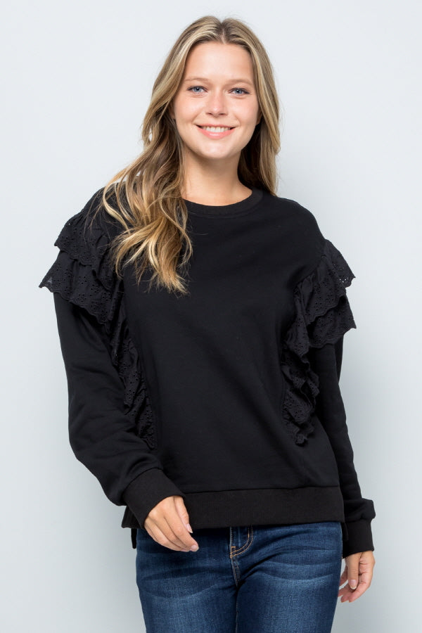 T2919 Ruffle Sweatshirts Top