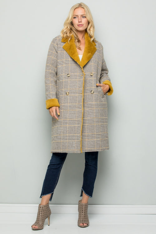 T3009 Faux Fur Lined Plaid Coat