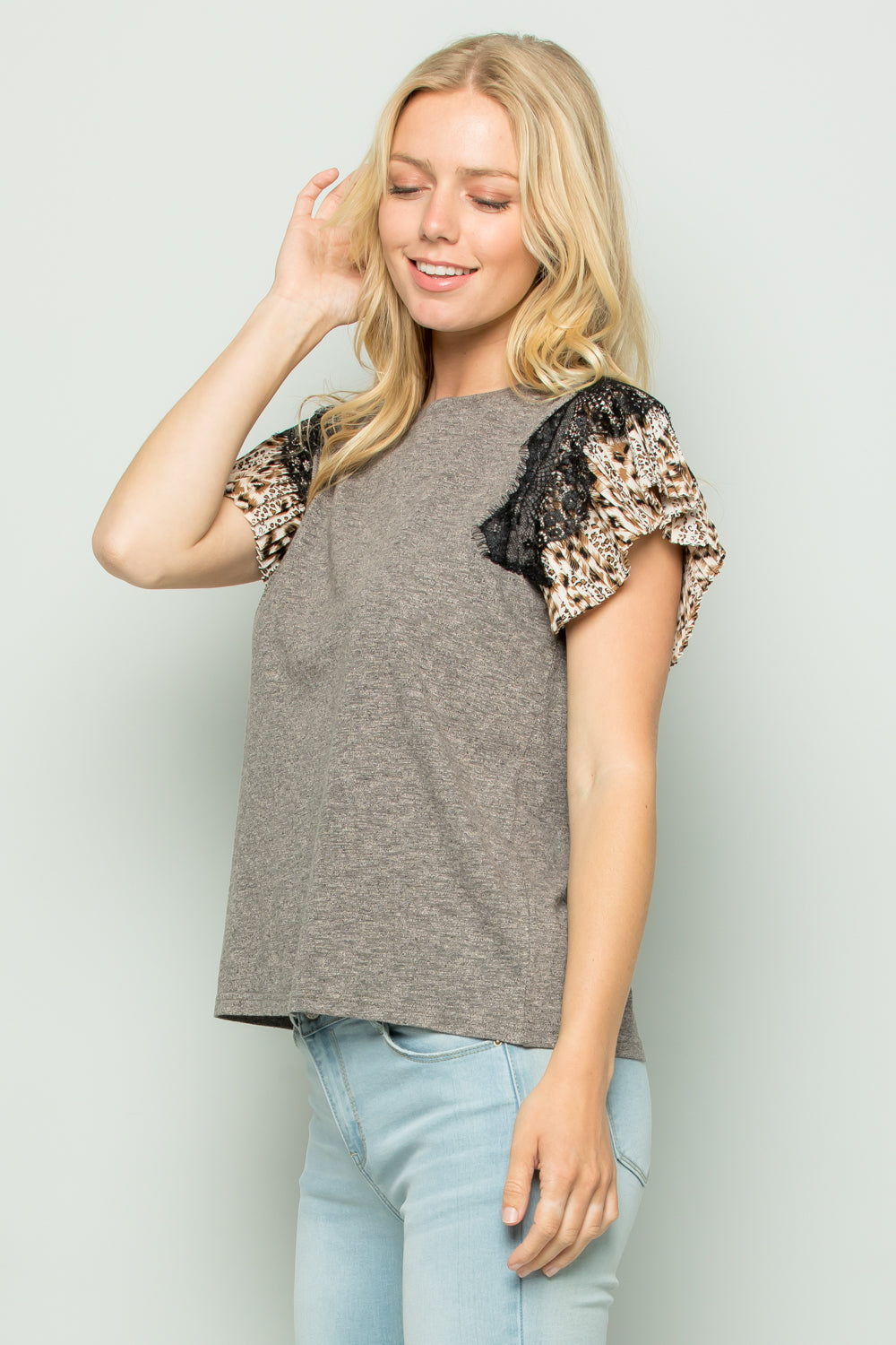 T3018 Pleated Lace Trimed Sleeve Knit Top - Mocha
