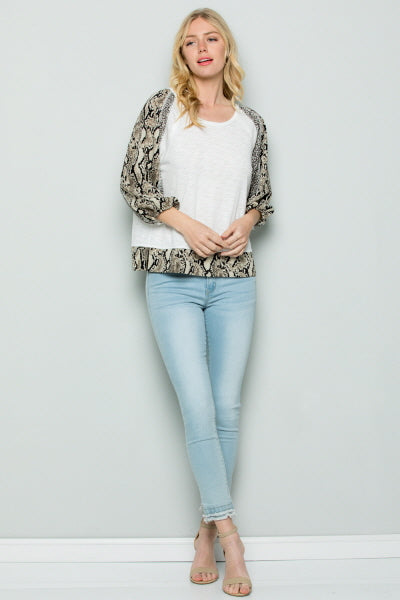 T3029 Snake Skin Print Mix Sleeve Top - White