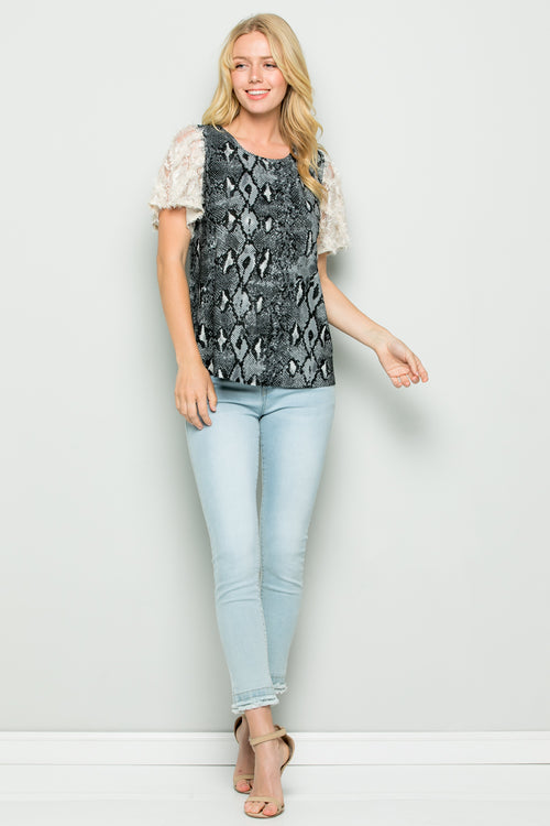 T3031 Lace Sleeve Animal Print Knit Top - Black