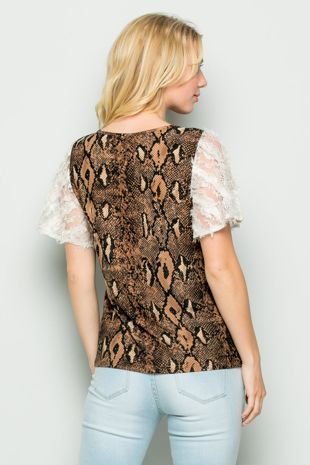 T3031 Lace Sleeve Animal Print Knit Top - Brown
