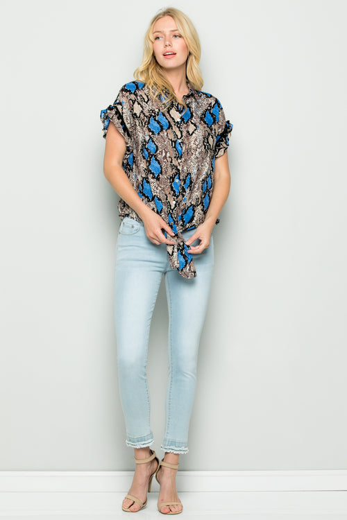 T3037 Colorful Snake Skin Print Top - BLUE