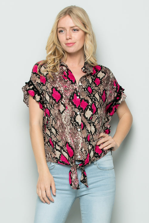 T3037 Colorful Snake Skin Print Top - PINK