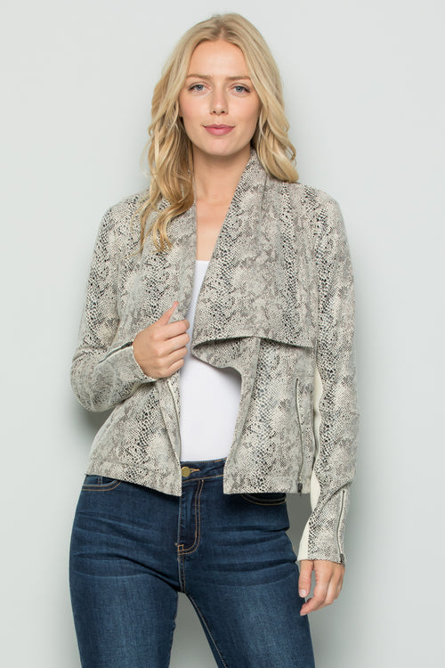 T3046 Snake Skin Pleather Moto Jacket - Off White