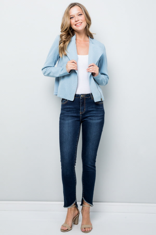 T3049 Denim Moto Jacket